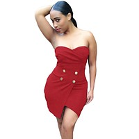 Date Red Strapless Wrapped Mini Dress