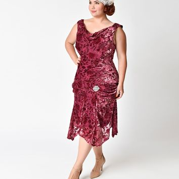 Unique Vintage Plus Size 1930s Merlot Burnout Velvet Velma Flapper Dress