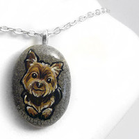 Yorkie Necklace, Yorkshire Terrier Dog Jewelry, Pet Portrait Art Pendant, Memorial Gift for Dog Owners, Hand Painted Rock, Beach Stone