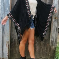 Black Trimmed Tasseled Cape