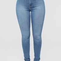 Dare Devil High Rise Skinny Jeans - Medium Blue Wash