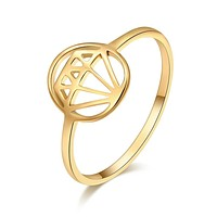 Geometric Graphic Hollow Stainless Steel Rings