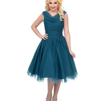 Unique Vintage 1950s Style Teal First Date Swing Dress