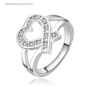 Charming Heart Design Latest 925 Silver Plated Handmade Rings