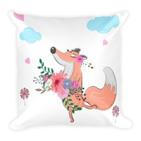 Boho Baby Fox Square Pillow