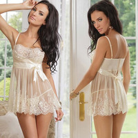 Valentine's Day Gift Womens White Bridal Mesh Lace Crochet Dress Sleepwear Robes M XL XXL_TQ = 1916368004