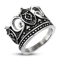 Hail Hail - Majestic Crown Black and Stainless Steel Royal Design Ring