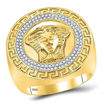 10kt Yellow Gold Mens Round Diamond Medusa Face Greek Key Fashion Ring 1/3 Cttw