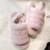 """""""UGG"""" Hight Quality Fashionable Women Cute Fluff Yeah Slippers Shoes Light Pink I/A"""