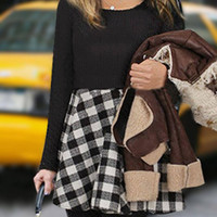 Black and White Plus Size Check Dress with Long Sleeves
