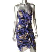 Nicole Miller Womens Metallic Silk Blend Clubwear Dress