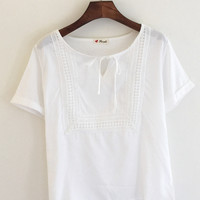 White Embroidered Short Sleeve Blouse