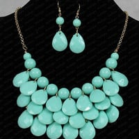 Bubble Necklace Earrings Set,Mint Necklace sets,Chunky Necklace,Cluster Necklaceces set, n0024