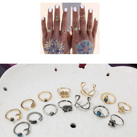 Designer Nice 1 Set Personality Leaf Knuckle Midi Mid Finger Tip Stacking Chain Rings New Fashion Women Silver Crystal Ring Wedding Engagement Gift Jewelry = 6084598215