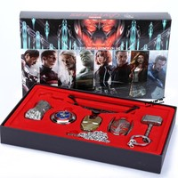6pcs/set  Avengers Age of Ultron Cosplay Weapons Thor Hammer Necklace Metal Figure Model Collectible