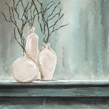 Teal Elegance - Teal And Gray Art