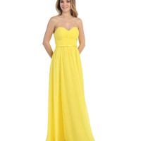 Preorder -  Yellow Gathered Knot Strapless Dress 2015 Prom Dresses