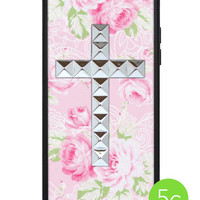 Pink Lace Floral Silver Studded Cross iPhone 5c Case