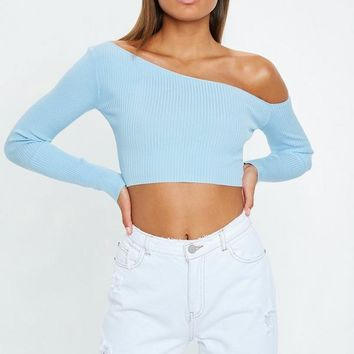 Missguided - Blue Ribbed Cropped One Shoulder Knitted Top