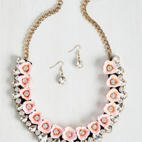 Brio in Bloom Necklace and Earring Set in Carnation   Mod Retro Vintage Necklaces   ModCloth.com