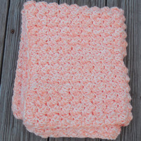 Crochet Baby Blanket, Double Strand, Car Seat Cover, Stroller Blanket, Textured Photo Prop