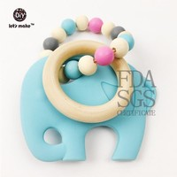 Let's make Infant teething toy, wooden ring, silicone elephant, baby toy, car seat toy