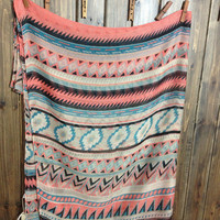 COLOR SUPER LONG LARGE SCARF SHAWL GEOMETRY