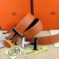 *Hermes Reversible Men's Belt Double H Buckle Size 110cm Size 40-42
