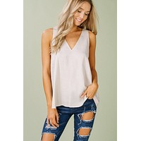 Natural VNeck Sleeveless Top