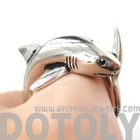 3D Realistic Shark Sea Animal Wrap Ring in Shiny Silver Sizes 5 to 10