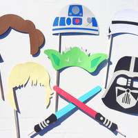 Star Wars Inspired Photo Booth Props; Yoda, Storm Trooper, Darth Vader Photobooth Props; Boy Birthday Party Idea; Light Saber Prop