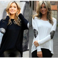 Women Plus Size Cotton Batwing Long Sleeves T Shirt Pullover Tops = 1919835396