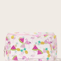 Flamingo & Watermelon Print Transparent Makeup Bag