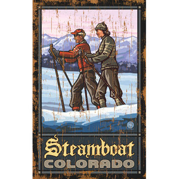 Personalized Couple Cross Country Skiing Wood Sign