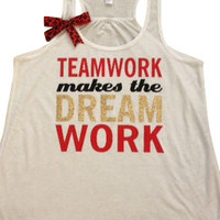 Teamwork Makes the Dream Work - Womens Fitness Clothing - Workout shirt - Fitness Shirt - Gym Apparel - Motivational Shirt - Ruffles with Love