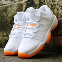 Air Jordan 11 Classic Women Men Casual Sneakers Sport Basketball Shoes White&Orange-1