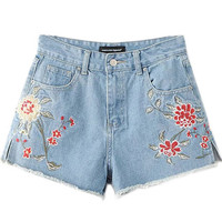 Light Blue Floral Embroidered Raw Hem Denim Shorts
