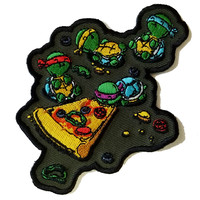"""""""Pizza Lover"""" TV Movie Parody Turtles Eating Pizza - Novelty Iron On Patch Applique HS P - CHL - 0010"""