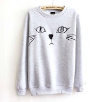 Adorable Kitty Cat Face Long Sleeve Pullover Sweatshirt Sweater for Women in White or Grey