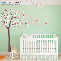 Plus SizeTree Blowing Cherry Blossom Wall Decal Nursery Tree Flowers Butterfly Art Baby Kids Room Wall Sticker Nature Wall Decor