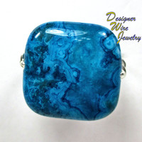 DWJ0206 Stunning Larimar Blue Crazy Lace Wire Wrapped Ring All Sizes