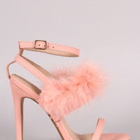 Feather Embellished Ankle Strap Open Toe Heel