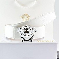 Versace Fashion Smooth Buckle Belt Leather Belt-14