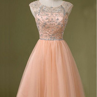 Pink Scoop V-back Knee-length Tulle Beading Homecoming Dress