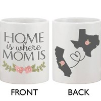 Personalized Long Distance Relationship Ceramic Coffee Mug for Mom - Home Is Where Mom Is