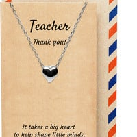 Amelina Teacher Gifts - Thank You Teacher Heart Necklace, 925 Sterling Silver