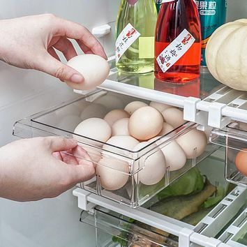 Transparent Pet Refrigerator Drawer Boxes Telescopic Smoked Pull Type Of Fresh-Keeping Box Of Refrigerator Compartment Finishing Receive A Case