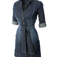 LE3NO Womens Casual Flared Button Down Chambray Denim Shirt Dress (CLEARANCE)