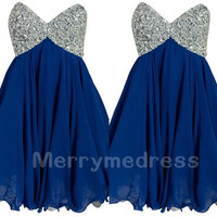 Sequins Dark Royal Blue Sweetheart Strapless Short Bridesmaid Celebrity Dress, Chiffon Formal Evening Party Prom Dress New Homecoming Dress