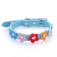 Sweet Flower Studded Puppy Pet Dog Cat Collar PU Leather Buckle Neck Strap Collars for Dogs Leash Pet Products